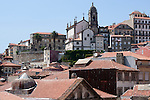 View of the historical city center of Porto, Portugal with the Church of San Francisco in the background.