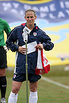 Kristine Lilly, U.S. player captain, read a statement as part of FIFA's ?Say No to Racism? campaign before the game on Sunday June 26th, 2005, during an international friendly soccer match at Virginia Beach Sportsplex in Virginia Beach, Virginia. The United States won the game 2-0.