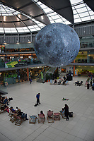 Museum of the Moon, a giant inflatable featuring detailed NASA imagery of the lunar surface, at The Forum as part of the Norwich & Norfolk festival, May 2017 UK