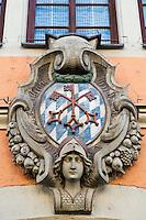 Crest showing Bavarian colors, Regensburg, Germany