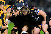Nick Auterac of Bath Rugby prepares to scrummage against his opposite number. European Rugby Challenge Cup match, between Bath Rugby and Bristol Rugby on October 20, 2016 at the Recreation Ground in Bath, England. Photo by: Patrick Khachfe / Onside Images