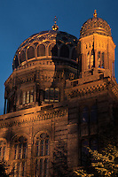 The Neue Synagoge or New Synagogue at night, built 1859-66 by Eduard Knoblauch in Moorish style, although largely rebuilt after damage in World War Two, Oranienstrasse, Berlin, Germany. Picture by Manuel Cohen