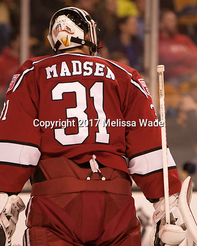 Merrick Madsen (Harvard - 31) - The Harvard University Crimson defeated the Boston University Terriers 6-3 (EN) to win the 2017 Beanpot on Monday, February 13, 2017, at TD Garden in Boston, Massachusetts.