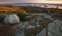 For much of the year, Cadillac Mountain in Acadia Ntaional Park, Maine is the first to receive the rays of the morning sun. No visit to the park, when the road is passable, is complete without watching the sunrise from the summit. Here, you can see the town of Bar Harbor and the islands of Frenchman's Bay.