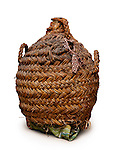 Ceramic wine bottle in wicker basket isolated with clipping path on white background