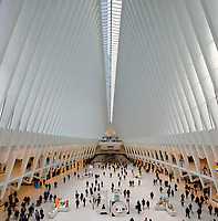 Inside the Oculus, the central retail and dining section of the new World Trade Center Transportation Hub, designed by Santiago Calatrava and opened in 2016, Lower Manhattan, New York, New York, USA. The Hub replaces the old train station which was destroyed in the 11 September 2001 terrorist attacks. The large white ribbed structure acts as a huge skylight to bring natural light into the underground train station. Picture by Manuel Cohen