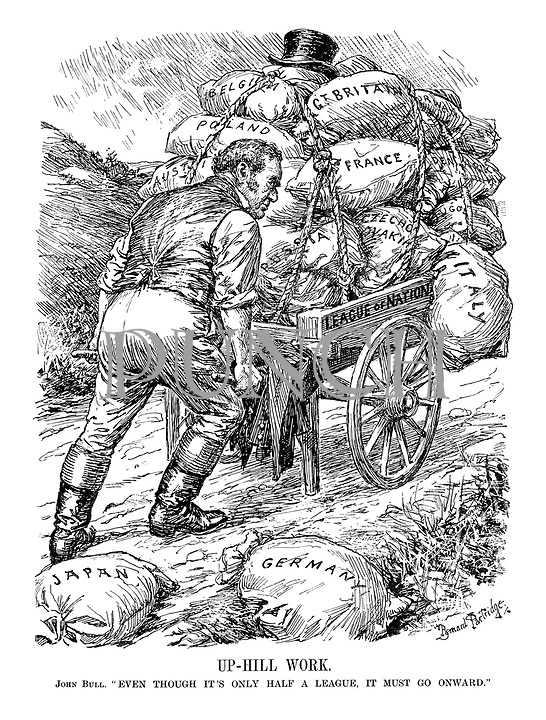 """Up-Hill Work. John Bull. """" Even though it's only half a league, it must go onward."""""""