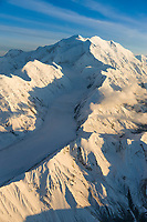 Muldrow glacier flows between Carpe (left) and Pioneer (right) ridges, down the western side of Mt. McKinley, north America's tallest mountain, Denali National Park, Alaska.