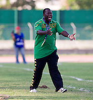 Jamaica head coach Wendell Downswell yells to his team during the quarterfinals of the CONCACAF Men's Under 17 Championship at Catherine Hall Stadium in Montego Bay, Jamaica. Jamaica defeated Honduras, 2-1.