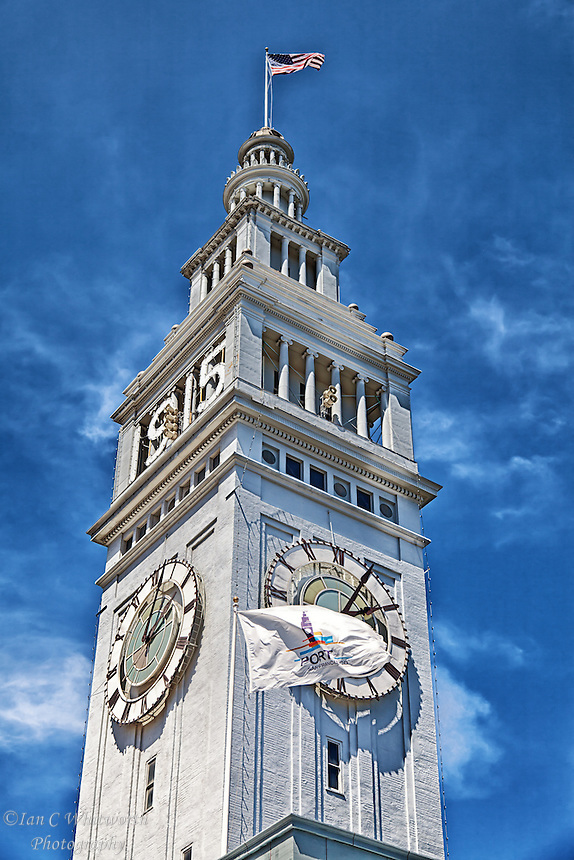 A view of the Ferry Building clock tower in San Francisco.