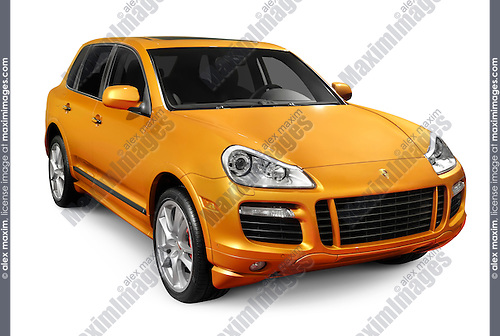 Orange 2009 Porsche Cayenne Turbo S SUV isolated on white background with clipping path