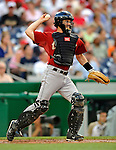 11 July 2008: Houston Astros' catcher Brad Ausmus in action against the Washington Nationals at Nationals Park in Washington, DC. The Nationals shut out the Astros 10-0 in the first game of their 3-game series...Mandatory Photo Credit: Ed Wolfstein Photo