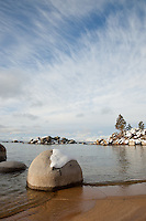 """Boulders at Speedboat Beach 1"" - These snow covered boulders were photographed in the morning along the shore of Speedboat Beach, Lake Tahoe."