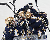 Irish celebrate. The visiting University of Notre Dame Fighting Irish defeated the Boston College Eagles 7-2 on Friday, March 14, 2014, in the first game of their Hockey East quarterfinals matchup at Kelley Rink in Conte Forum in Chestnut Hill, Massachusetts.
