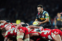 Danny Care of Harlequins looks to put the ball into a scrum. Aviva Premiership match, between Harlequins and Gloucester Rugby on December 27, 2016 at Twickenham Stadium in London, England. Photo by: Patrick Khachfe / JMP