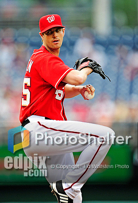 6 June 2010: Washington Nationals' pitcher Doug Slaten on the mound against the Cincinnati Reds at Nationals Park in Washington, DC. The Reds edged out the Nationals 5-4 in a ten inning game. Mandatory Credit: Ed Wolfstein Photo
