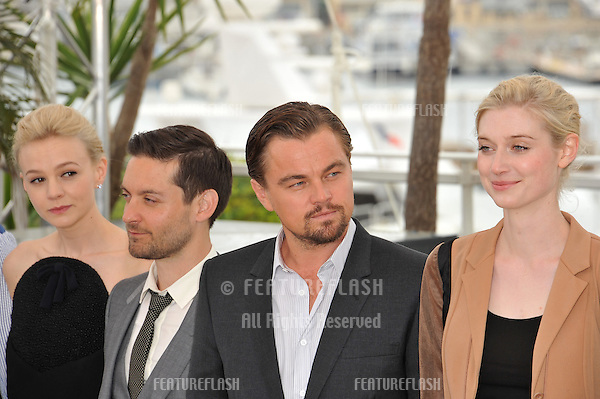 "Leonardo DiCaprio, Carey Mulligan, Tobey Maguire & Elizabeth Debicki at the photocall for their movie ""The Great Gatsby"" at the 66th Festival de Cannes..May 15, 2013  Cannes, France.Picture: Paul Smith / Featureflash"