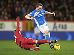Aberdeen v St Johnstone&hellip;10.12.16     Pittodrie    SPFL<br />Chris Kane is tackled by James Maddison<br />Picture by Graeme Hart.<br />Copyright Perthshire Picture Agency<br />Tel: 01738 623350  Mobile: 07990 594431
