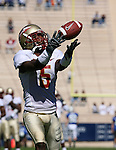 14 October 2006: Florida State's Chris Davis catches a pass during pregame warmups. The Florida State University Seminoles defeated the Duke University Blue Devils 51-24 at Wallace Wade Stadium in Durham, North Carolina in an Atlantic Coast Conference NCAA Division I College Football game.