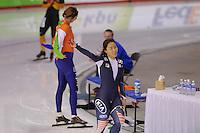 SCHAATSEN: CALGARY: Olympic Oval, 08-11-2013, Essent ISU World Cup, 500m, Sang-Hwa Lee (KOR), world record 36.74, ©foto Martin de Jong
