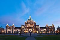 Lights illuminate parliment building, Victoria, Vancouver Island, British Columbia, Canada
