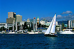 California: Oakland.  Downtown as seen from the Jack London waterfront area.  Photo caoakl101..Photo copyright Lee Foster, 510/549-2202, lee@fostertravel.com, www.fostertravel.com
