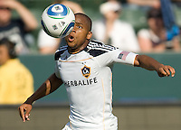 LA Galaxy forward Tristan Bowen (17) keeps his eyes on the ball on the way to scoring a goal. The LA Galaxy defeated the Houston Dynamo 4-1 at Home Depot Center stadium in Carson, California on Saturday evening June 5, 2010..