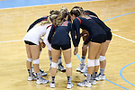 10 September 2015: Stanford's starters huddle before the match. The University of North Carolina Tar Heels hosted the Stanford University Cardinal at Carmichael Arena in Chapel Hill, NC in a 2015 NCAA Division I Women's Volleyball contest. North Carolina won the match 25-17, 27-25, 25-22.
