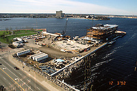 1992 December 03..Redevelopment.Downtown West (A-1-6)..NAUTICUS.CONSTRUCTION PROGRESS.LOOKING SOUTHWEST FROM TOWN POINT BUILDING ROOF...NEG#.NRHA#..