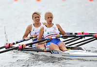 Brandenburg, GERMANY,  GBR BW2X, Bow, Emma STEEL and Frances FLETCHER, move away from the start at the 2008 FISA U23 World Rowing Championships, {idow], {date}, [Mandatory credit: Peter Spurrier Intersport Images]. Rowing Course: Brandenburg, Havel Rowing Course, Brandenburg, GERMANY