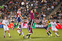 CARSON, CA - July 7, 2012: Chivas USA forward Juan Pablo Angel (9) and Vancouver Whitecaps goalie Joe Cannon (1) during the Chivas USA vs Vancouver Whitecaps FC match at the Home Depot Center in Carson, California. Final score Vancouver Whitecaps FC 0, Chivas USA 0.