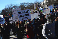Washington, DC - February 4, 2017: A few thousand people gathered near the White House and marched through the streets of the District of Columbia, February 4, 2017, to protest the travel ban instituted by President Trump.  (Photo by Don Baxter/Media Images International)