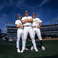 Tim Hudson, Mark Mulder, and Barry Zito of the Oakland Athletics
