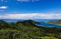 Entrances to Haamene and Faaha Bays as seen from the mountains on Tahaa island