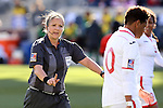 26 October 2014: Referee Carol-Anne Chenard (CAN). The Trinidad & Tobago Women's National Team played the Mexico Women's National Team at PPL Park in Chester, Pennsylvania in the 2014 CONCACAF Women's Championship Third Place game. Mexico won the game 4-2 after extra time. With the win, Mexico qualified for next year's Women's World Cup in Canada and Trinidad & Tobago face playoff for spot against Ecuador.