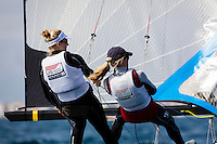 20140331, Palma de Mallorca, Spain: SOFIA TROPHY 2014 - 850 sailors from 50 countries compete at the ISAF Sailing World Cup event. 49erFX - USA121 - Genny Tulloch / Kathleen Tocke. Photo: Mick Anderson/SAILINGPIX