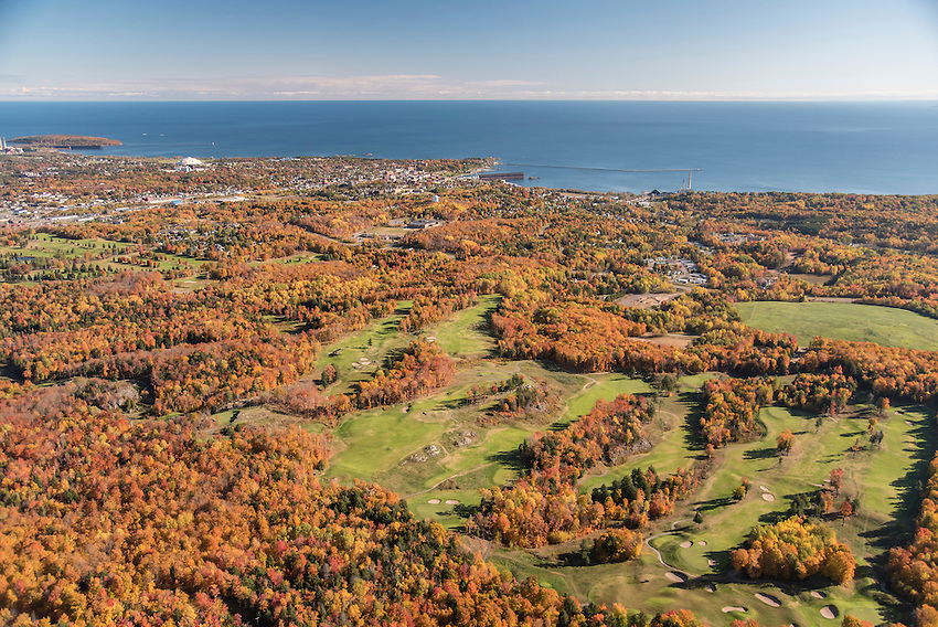 Aerial photography of Greywalls Golf Course Marquette, Michigan.