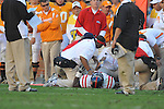 Ole Miss defensive tackle Lawon Scott (96) is injured and carted off the field in a college football game at Neyland Stadium in Knoxville, Tenn. on Saturday, November 13, 2010. Tennessee won 52-14.