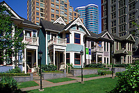Vancouver, BC, British Columbia, Canada - Renovated Houses and High Rise Apartment and Condominium Buildings in Yaletown District, Downtown City, Summer