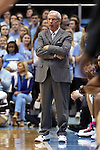 24 January 2015: UNC head coach Roy Williams wears sneakers as part of the American Cancer Society's Coaches vs. Cancer campaign. The University of North Carolina Tar Heels played the Florida State University Seminoles in an NCAA Division I Men's basketball game at the Dean E. Smith Center in Chapel Hill, North Carolina. UNC won the game 78-74.