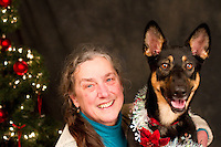 Mariah and her owner Sandy Petrarca are photographed at a Muttmixer holiday party thrown by City Dog magazine in Seattle, WA on December 09, 2010. (photo by Karen Ducey)