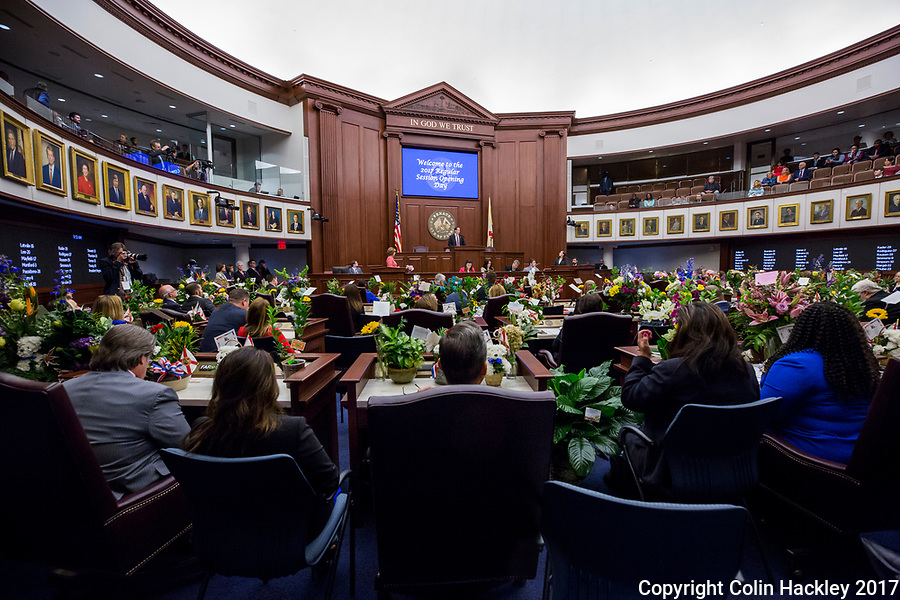TALLAHASSEE, FLA. 3/7/17-Senate President Joe Negron, R-Stuart, speaks during opening day of the legislative session at the Capitol in Tallahassee.<br /> <br /> COLIN HACKLEY PHOTO