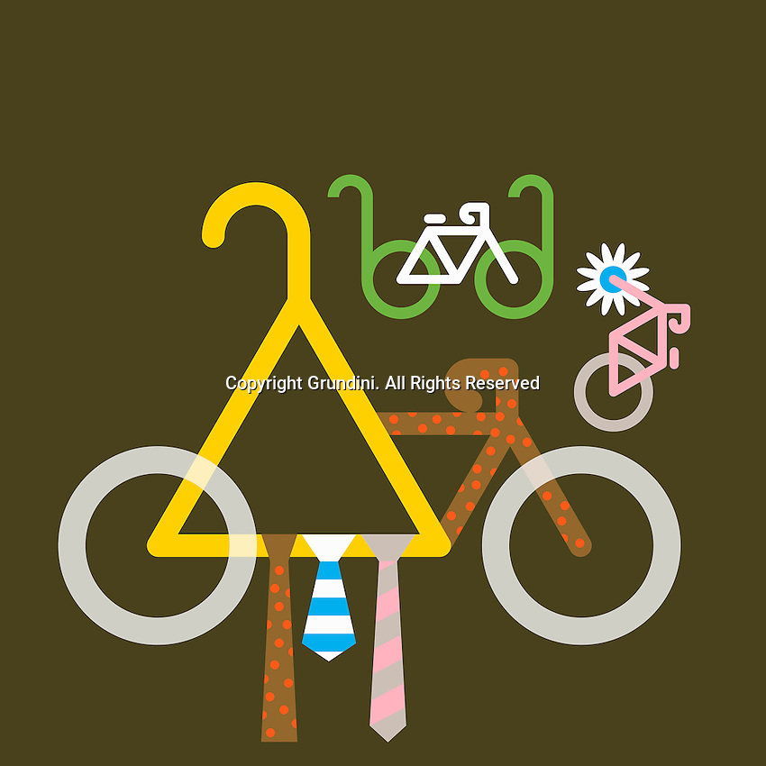 Abstract collage of ties, glasses, flower and bicycles  ExclusiveImage ExclusiveArtist