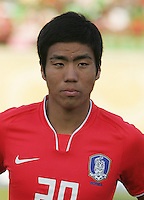 South Korea's Hee Seong Park (20) stands on the field before the FIFA Under 20 World Cup Quarter-final match between Ghana and South Korea at the Mubarak Stadium  in Suez, Egypt, on October 09, 2009.
