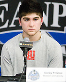 Corey Trivino (BU - 10) - The Boston College Eagles defeated the Boston University Terriers 3-2 (OT) in their Beanpot opener on Monday, February 7, 2011, at TD Garden in Boston, Massachusetts.