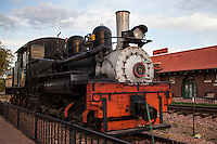 A historic steam locomative on display at the Cañon City Railroad Station, the Royal Gorge Route railroad.