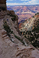 A day hiker heads down the South Kaibab Trail on Grand Canyon's South Rim.