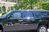 A Chevy Suburban, with perhaps with former United States Secretary of State Hillary Clinton aboard, returns to the Clinton residence in Washington, DC on Saturday, July 2, 2016.  It is believed the former Secretary was questioned by the FBI today in relation to her personal e-mail server that is the center of controversy.<br /> Credit: Ron Sachs / CNP<br /> (RESTRICTION: NO New York or New Jersey Newspapers or newspapers within a 75 mile radius of New York City)
