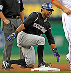 16 August 2008: Colorado Rockies' center fielder Willy Taveras slides safely, stealing third base in the first inning against the Washington Nationals at Nationals Park in Washington, DC.  The Rockies defeated the Nationals 13-6, handing the last place Nationals their 9th consecutive loss. ..Mandatory Photo Credit: Ed Wolfstein Photo
