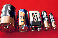 BATTERIES: FIVE SIZES<br /> Left to Right: D, C, 9 Volt, AA, AAA battery.